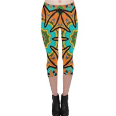 Color Abstract Pattern Structure Capri Leggings