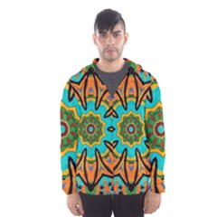 Color Abstract Pattern Structure Hooded Wind Breaker (men)