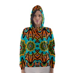Color Abstract Pattern Structure Hooded Wind Breaker (women)