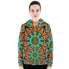 Color Abstract Pattern Structure Women s Zipper Hoodie