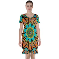 Color Abstract Pattern Structure Short Sleeve Nightdress