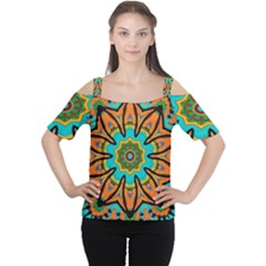 Color Abstract Pattern Structure Women s Cutout Shoulder Tee