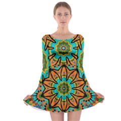 Color Abstract Pattern Structure Long Sleeve Skater Dress