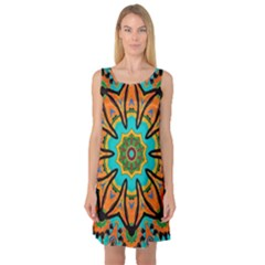 Color Abstract Pattern Structure Sleeveless Satin Nightdress