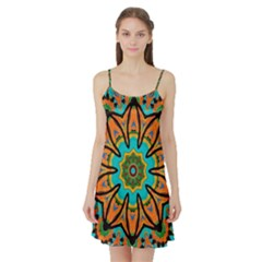 Color Abstract Pattern Structure Satin Night Slip