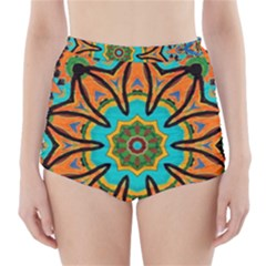 Color Abstract Pattern Structure High Waisted Bikini Bottoms