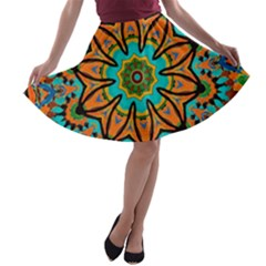 Color Abstract Pattern Structure A-line Skater Skirt