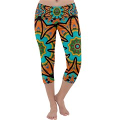 Color Abstract Pattern Structure Capri Yoga Leggings