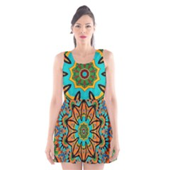 Color Abstract Pattern Structure Scoop Neck Skater Dress
