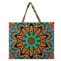 Color Abstract Pattern Structure Zipper Large Tote Bag