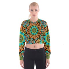 Color Abstract Pattern Structure Women s Cropped Sweatshirt