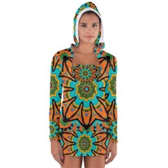 Color Abstract Pattern Structure Women s Long Sleeve Hooded T Shirt