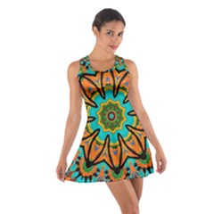 Color Abstract Pattern Structure Cotton Racerback Dress