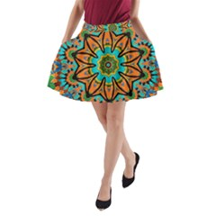 Color Abstract Pattern Structure A Line Pocket Skirt