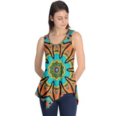 Color Abstract Pattern Structure Sleeveless Tunic