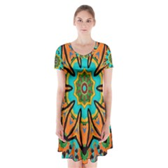 Color Abstract Pattern Structure Short Sleeve V Neck Flare Dress