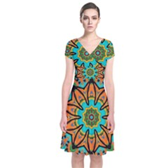 Color Abstract Pattern Structure Short Sleeve Front Wrap Dress