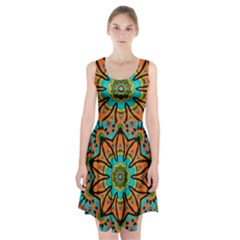 Color Abstract Pattern Structure Racerback Midi Dress