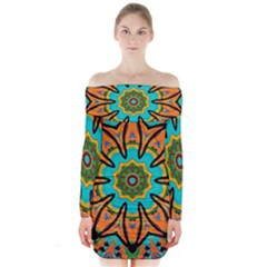 Color Abstract Pattern Structure Long Sleeve Off Shoulder Dress