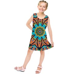 Color Abstract Pattern Structure Kids  Tunic Dress