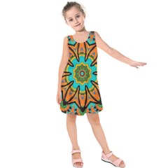 Color Abstract Pattern Structure Kids  Sleeveless Dress