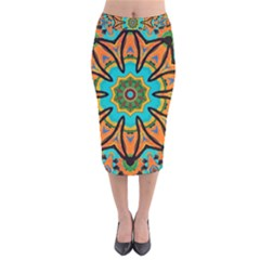 Color Abstract Pattern Structure Velvet Midi Pencil Skirt