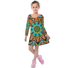 Color Abstract Pattern Structure Kids  Long Sleeve Velvet Dress