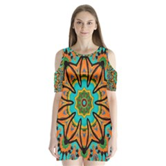 Color Abstract Pattern Structure Shoulder Cutout Velvet  One Piece