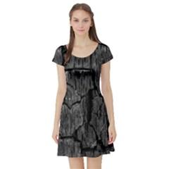 Coal Charred Tree Pore Black Short Sleeve Skater Dress