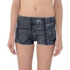 Coal Charred Tree Pore Black Reversible Bikini Bottoms