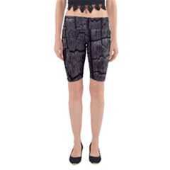 Coal Charred Tree Pore Black Yoga Cropped Leggings