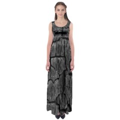Coal Charred Tree Pore Black Empire Waist Maxi Dress