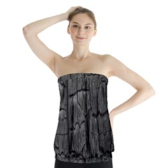 Coal Charred Tree Pore Black Strapless Top
