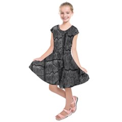 Coal Charred Tree Pore Black Kids  Short Sleeve Dress
