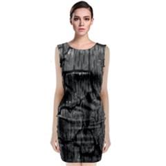 Coal Charred Tree Pore Black Sleeveless Velvet Midi Dress