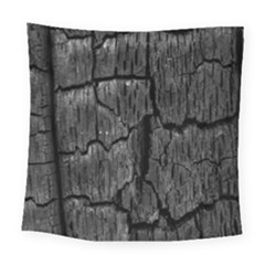 Coal Charred Tree Pore Black Square Tapestry (large)