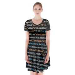 Close Up Code Coding Computer Short Sleeve V Neck Flare Dress