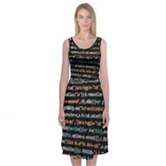 Close Up Code Coding Computer Midi Sleeveless Dress