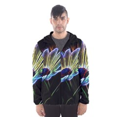 Flower Pattern Design Abstract Background Hooded Wind Breaker (men)