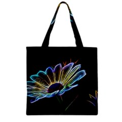 Flower Pattern Design Abstract Background Zipper Grocery Tote Bag