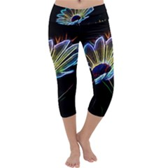 Flower Pattern Design Abstract Background Capri Yoga Leggings