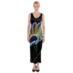 Flower Pattern Design Abstract Background Fitted Maxi Dress