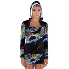 Flower Pattern Design Abstract Background Women s Long Sleeve Hooded T Shirt
