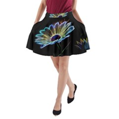 Flower Pattern Design Abstract Background A Line Pocket Skirt