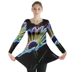 Flower Pattern Design Abstract Background Long Sleeve Tunic