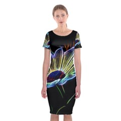 Flower Pattern Design Abstract Background Classic Short Sleeve Midi Dress