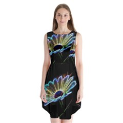 Flower Pattern Design Abstract Background Sleeveless Chiffon Dress