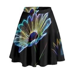 Flower Pattern Design Abstract Background High Waist Skirt