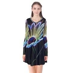 Flower Pattern Design Abstract Background Flare Dress