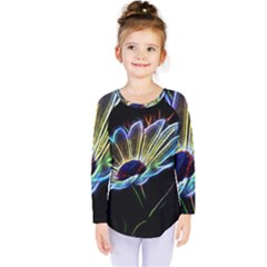 Flower Pattern Design Abstract Background Kids  Long Sleeve Tee